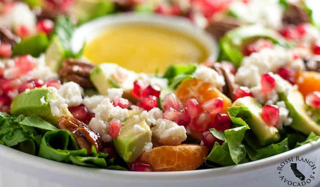 Pomegranate Mandarin Salad with Avocado and Feta Rossi Ranch Avocados Recipes